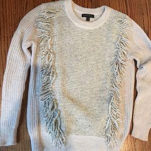 Banana republic gray fringe sweater